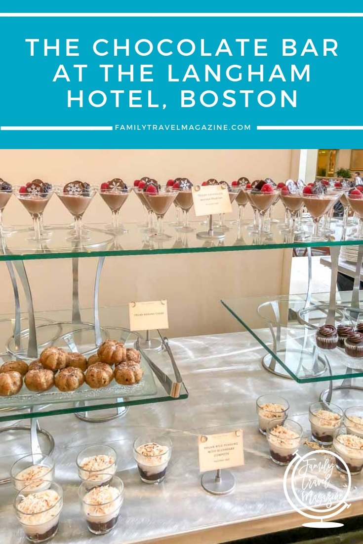 Review of the Langham Chocolate Bar in Boston, Massachusetts, featuring over 100 delicious desserts made of chocolate in an all-you-can eat buffet.