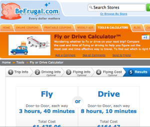 BeFrugal Fly or Drive Calculator