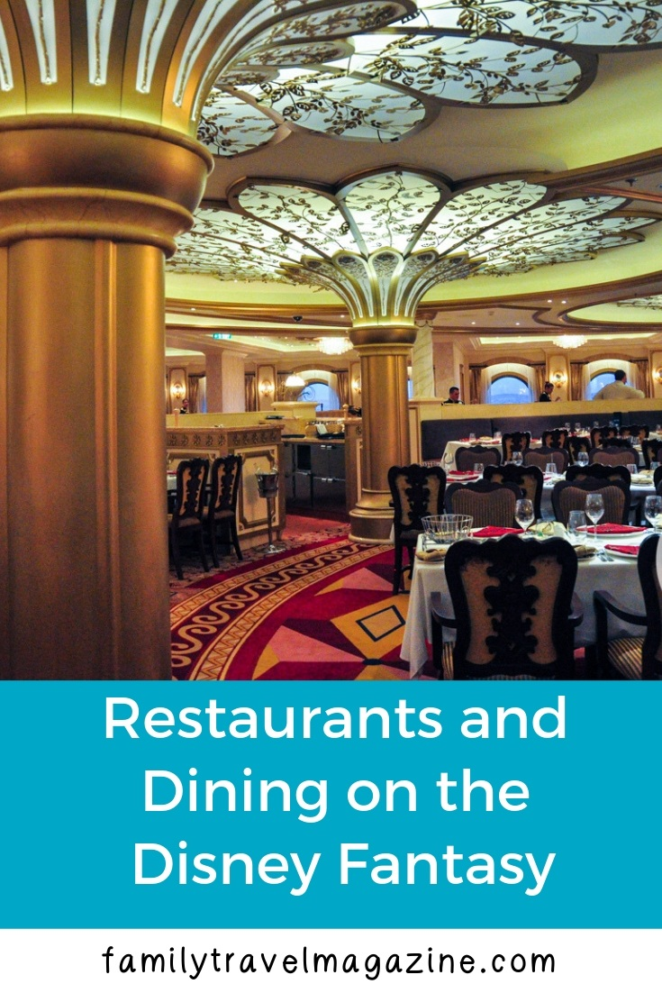 Restaurants and dining on the Disney Fantasy, including the three rotational dining locations, the premium dining locations, and some of the quick serve locations.