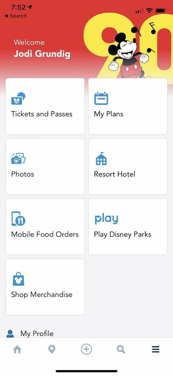 Main screen of My Disney Experience