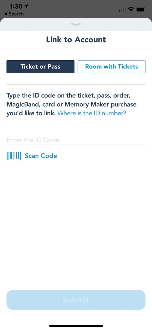 Link tickets on My Disney Experience