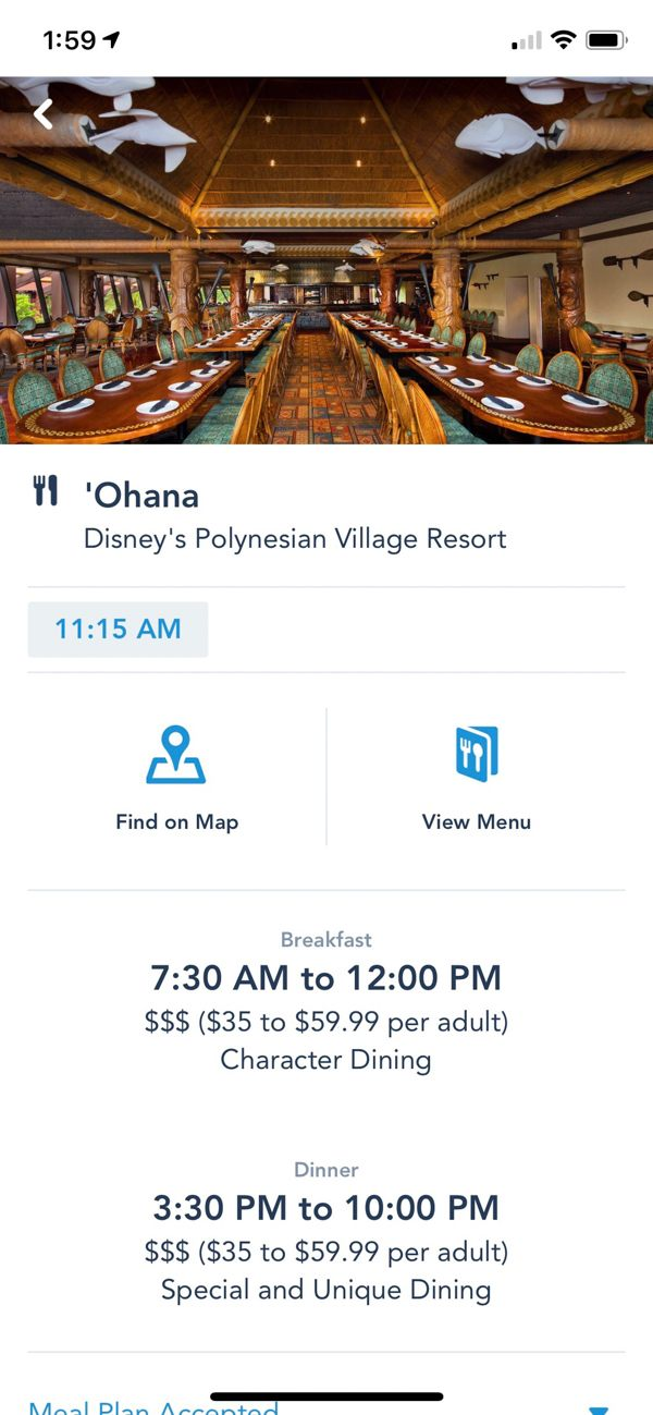Reservation times for dining on My Disney Experience