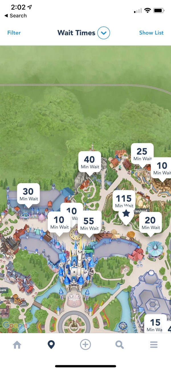 Wait times on the My Disney Experience app
