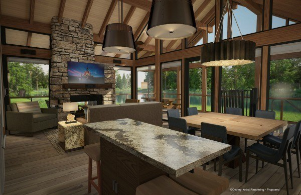 A rendering of a waterfront cabin interior at the Copper Creek Villas and Cabins.