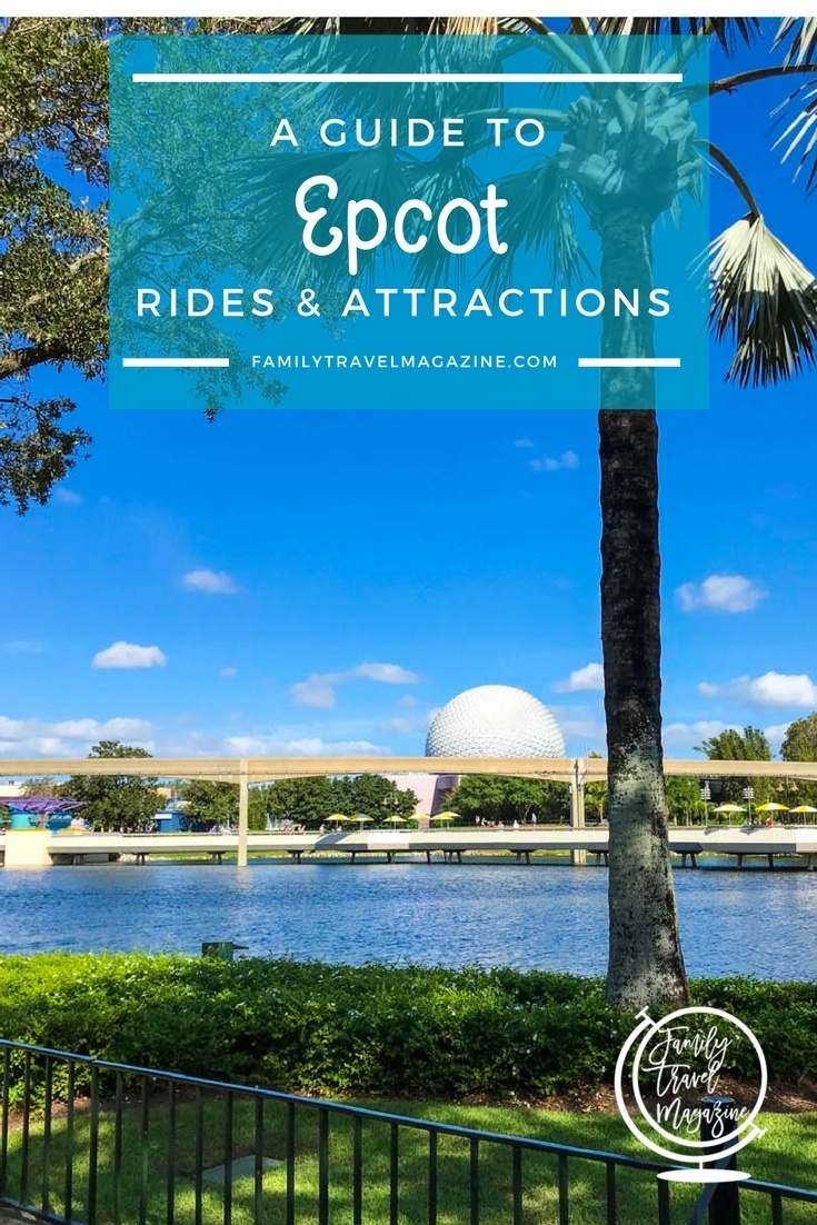 A guide to Epcot rides and attractions including Soarin', Spaceship Earth, and Test Track.