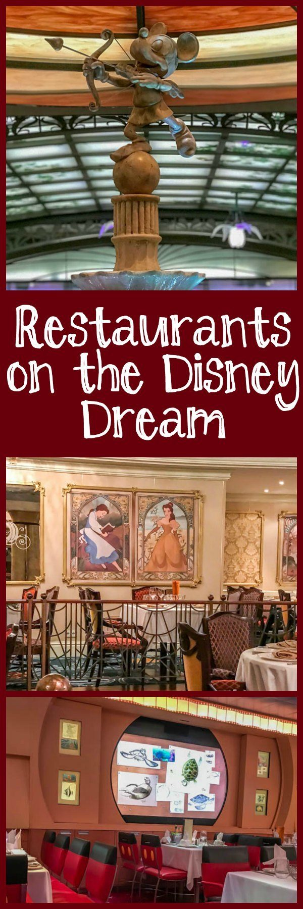 Restaurants on the Disney Dream, including Animator's Palate, Cabanas, and Enchanted Garden.