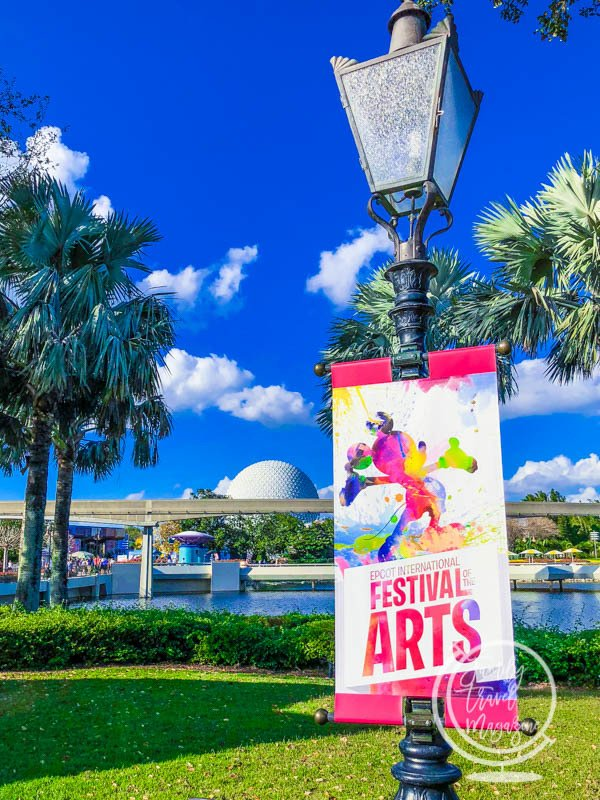 A sign for Disney's Festival of the Arts at Epcot