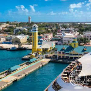 The cruise terminal in the Bahamas