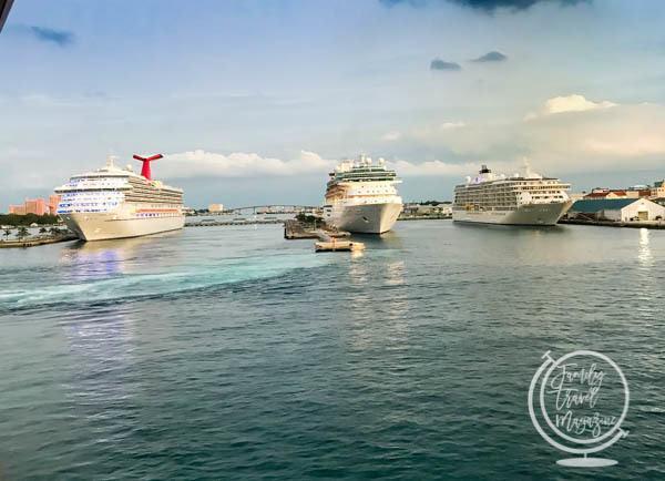 Cruise ships at a port