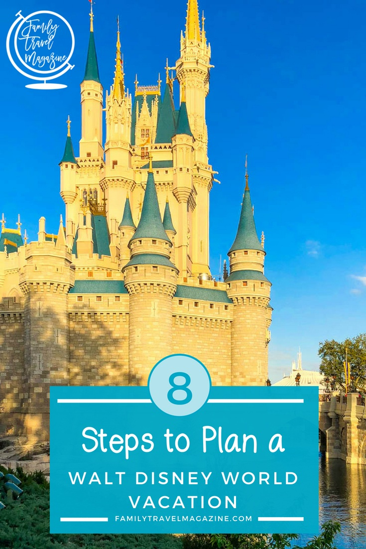 Eight steps to plan a Walt Disney World vacation, including deciding when to go on vacation, what tickets to buy, and when to book reservations and FastPasses.