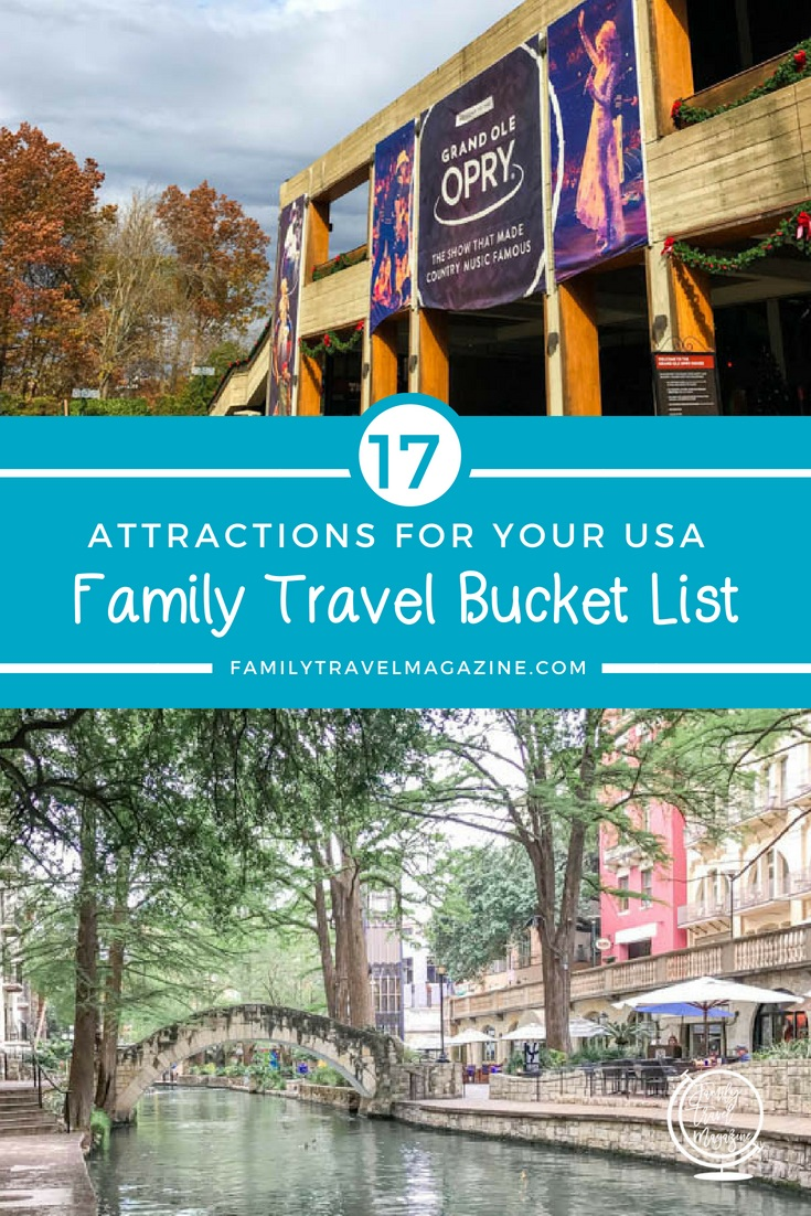 USA Travel Bucket List for Families, including attractions in Florida, New York City, Tennessee, and Arizona.