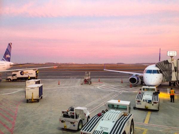 Pink Sky at Logan Airport
