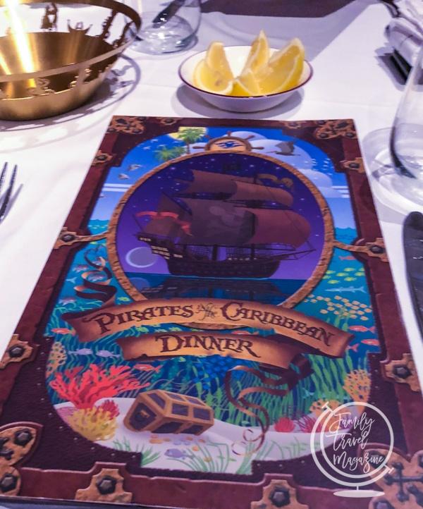 Pirates in the Caribbean dinner menu