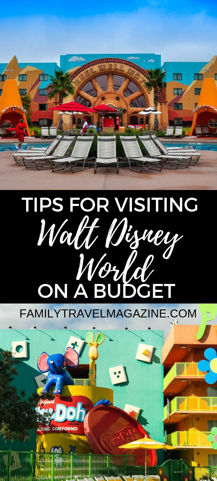 Tips for visiting Walt Disney World on a budget, including saving on food, souvenirs, park tickets, and hotels.
