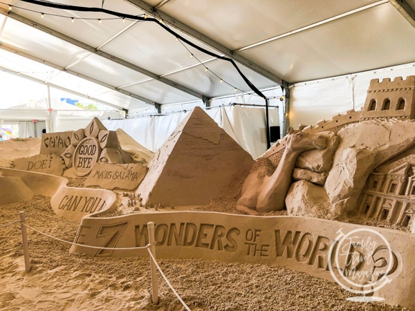 Seven wonders of the world sand sculpture