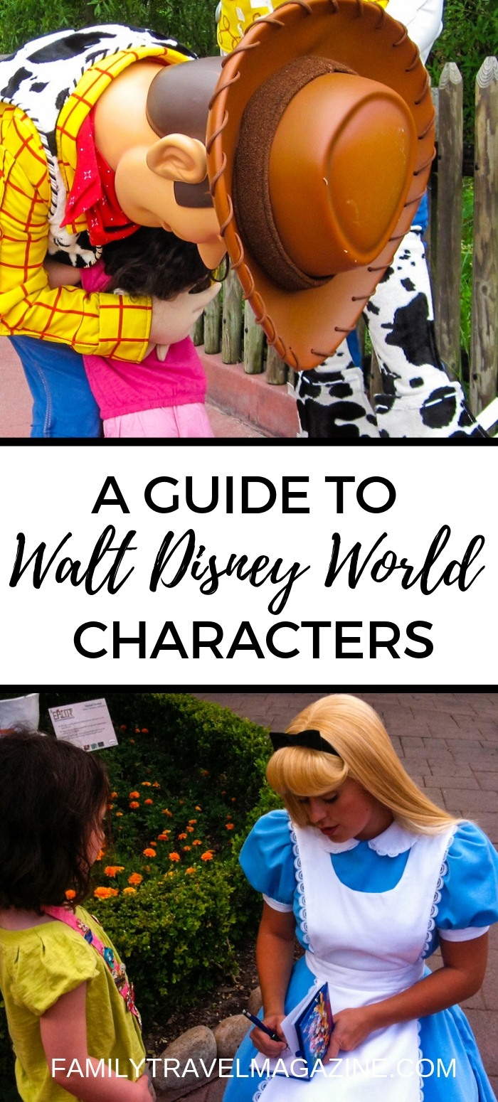 A guide to seeing Walt Disney World characters in the parks, including character meals, parades, shows, and character greetings.