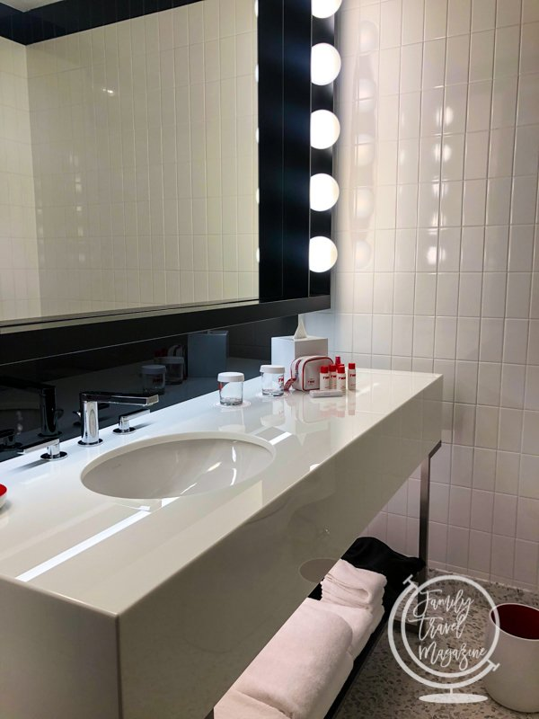 Bathroom in room at TWA Hotel
