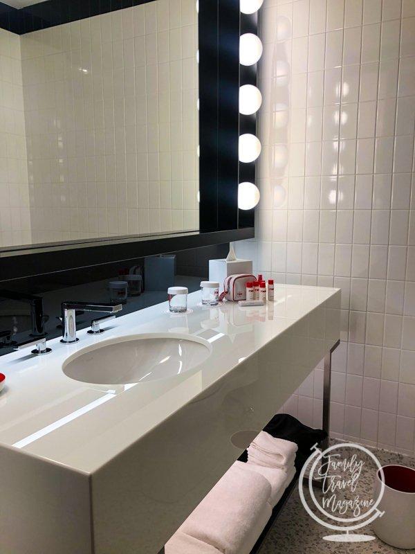 Bathroom in room at TWA Hotel