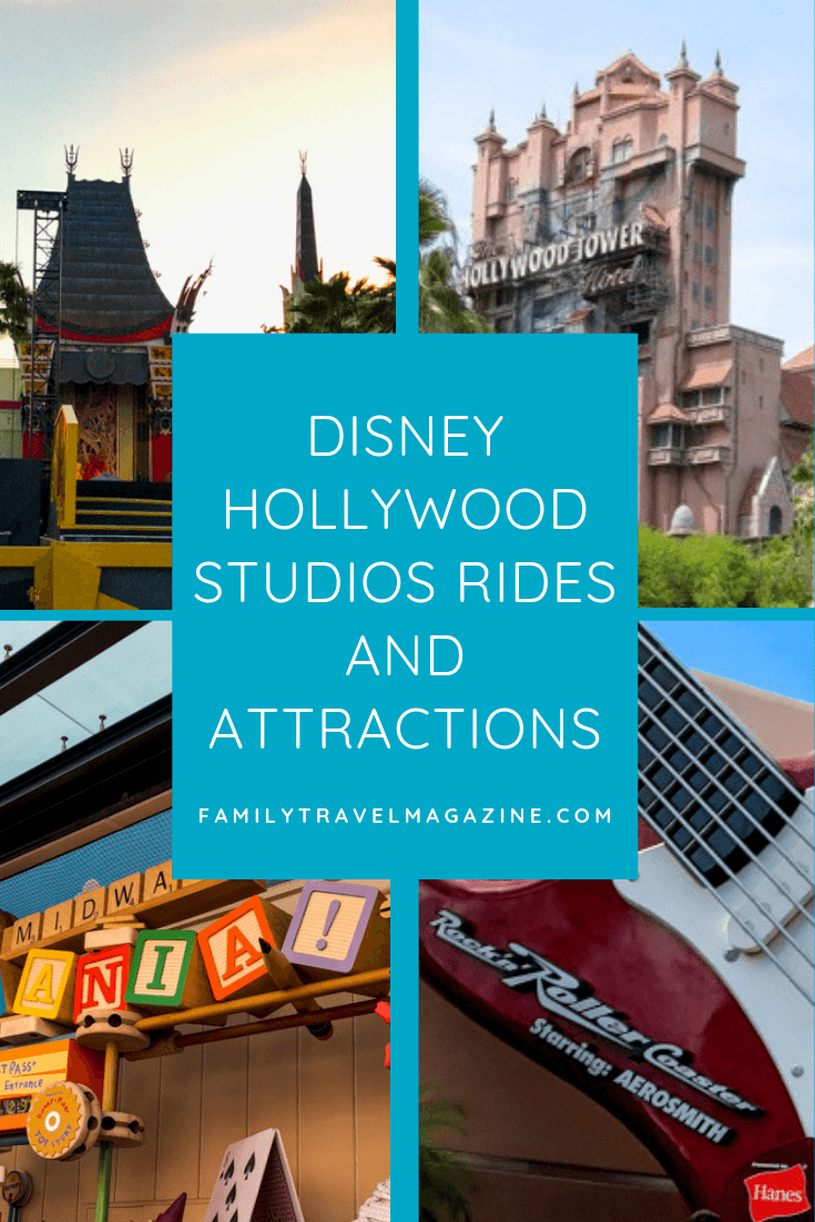 An overview of Disney Hollywood Studio rides and attractions including the Rock 'N' Roller Coaster, the Tower of Terror, and Star Tours.