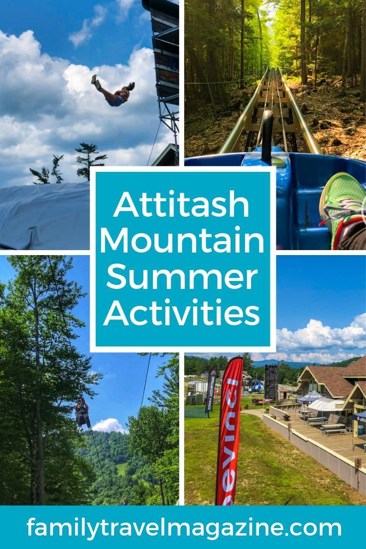 Attitash Mountain summer activities including zip lining, bungee trampoline, airbag jump, mountain coaster, and alpine slides.