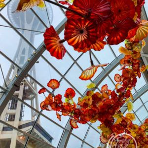 Chihuly Garden and Glass with the Space Needle in the distance