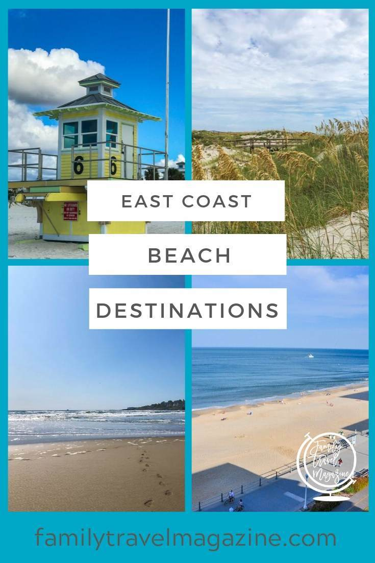 East coast beach destinations for families including barrier islands in the south, and Cape Cod, Maine, Florida beaches.