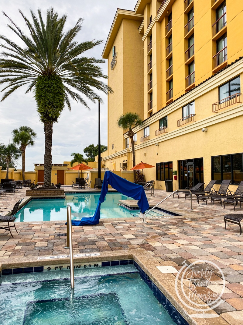 The outdoor pool and hot tub at the Embassy Suites
