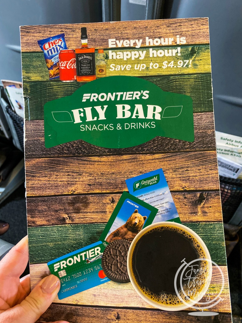 The snack and drink selection on Frontier