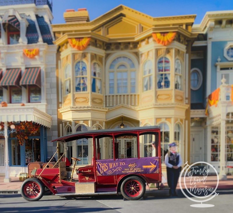 Trolley directing guests at Disney's Mickey's Halloween Party