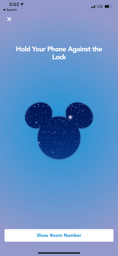 Open your Disney hotel room with the app.