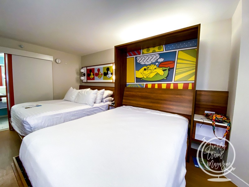 A room at Pop Century with the Queen-Size Table Bed down.