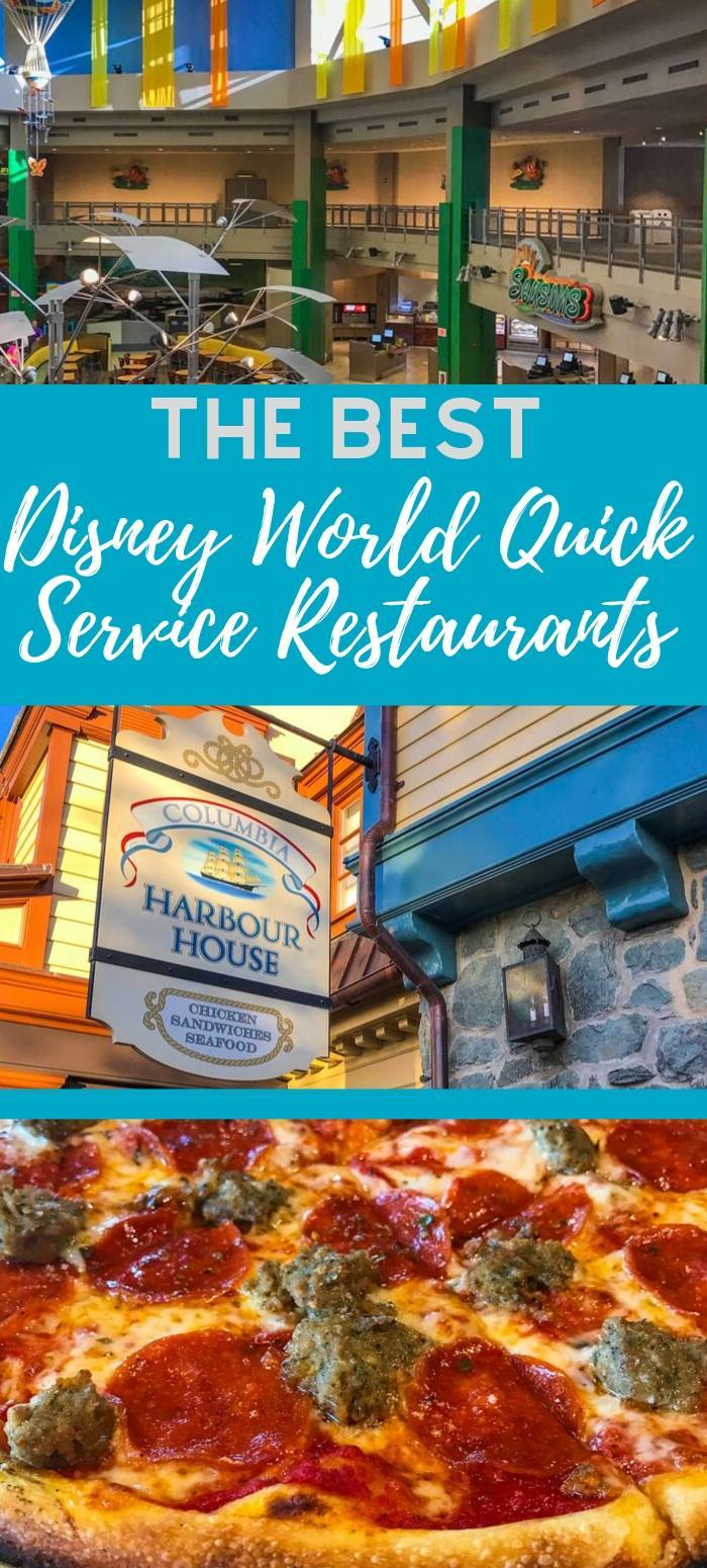 An overview of the best quick service Disney World restaurants, including locations at the Magic Kingdom, Epcot, Disney's Hollywood Studios, Disney Springs, and Animal Kingdom.
