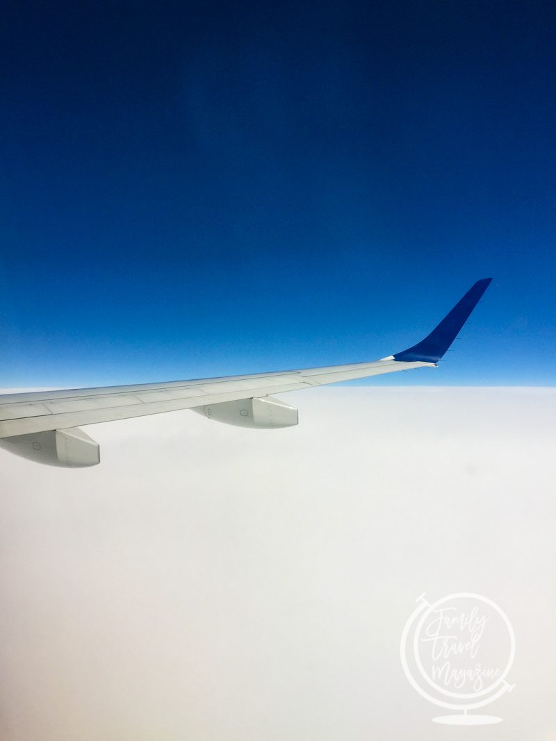 Plane wing over cloud