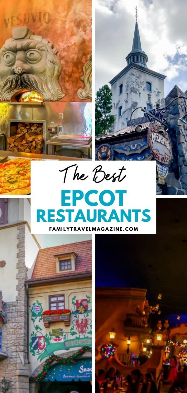 An overview of the best Epcot restaurants, including table service, quick service, and character restaurants. Includes a variety of different options.