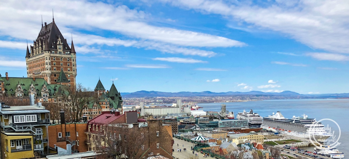 A view of the Chateau Frontenac and the Saint Lawrence River.