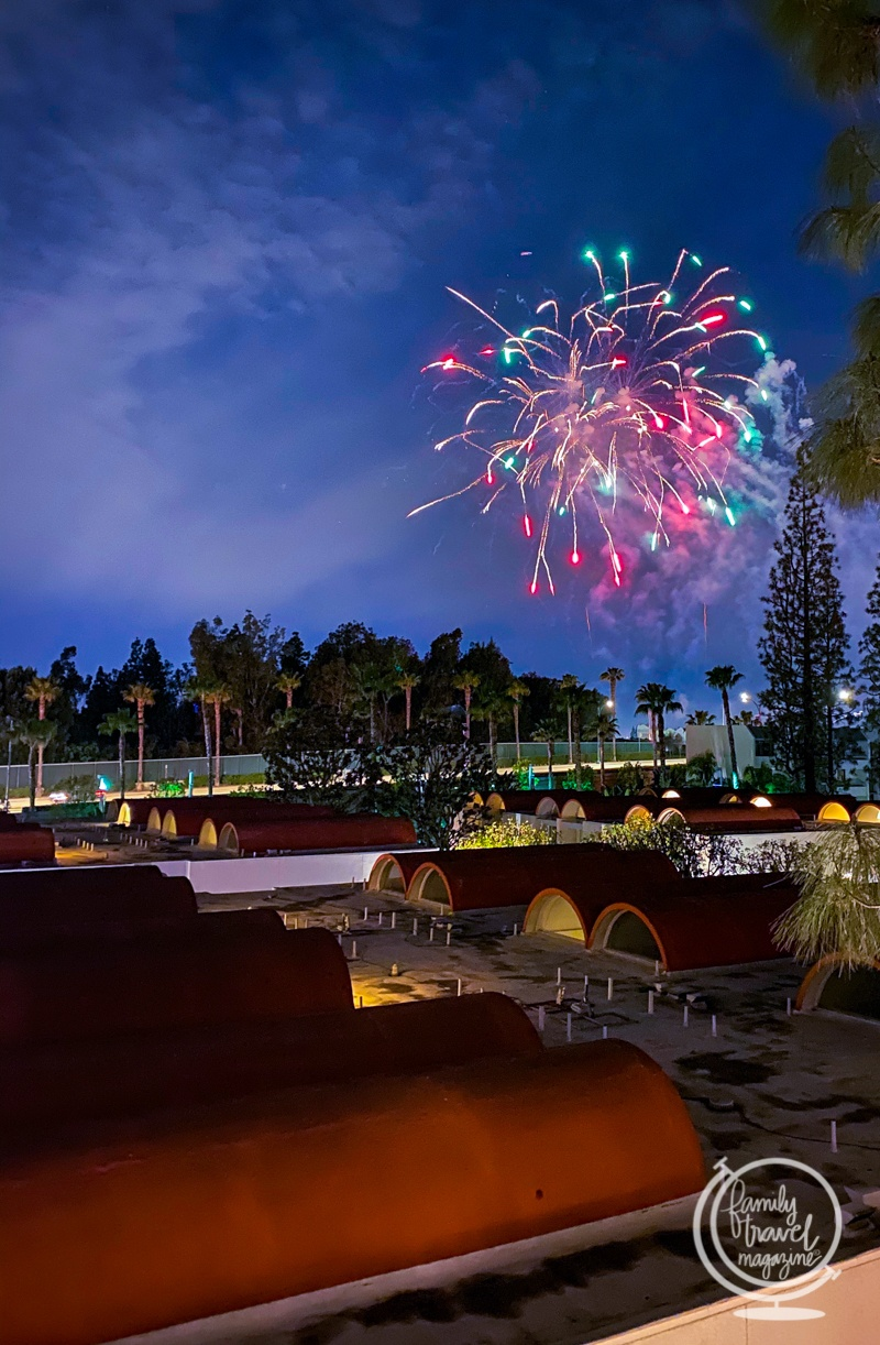 Fireworks view from the Howard Johnson Anaheim