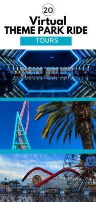 20 Virtual Theme Park Rides/POV Tours including rides at the Disney Parks, SeaWorld, Busch Gardens, Universal, and Knott's Berry Farm.