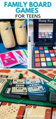 Family board games for teens that are perfect for playing at home or when traveling. Includes board games, card games, and other types of family games.