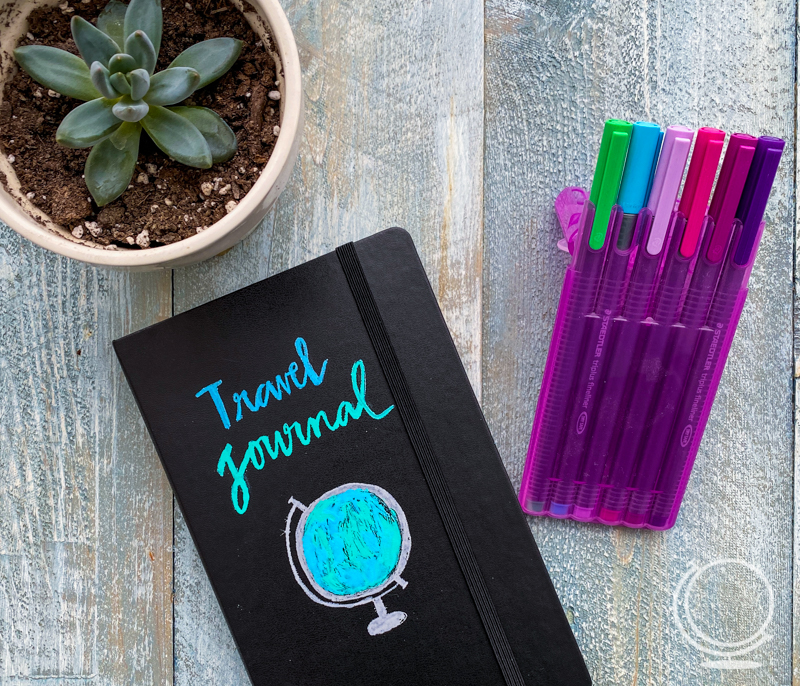 DIY travel journal with pens