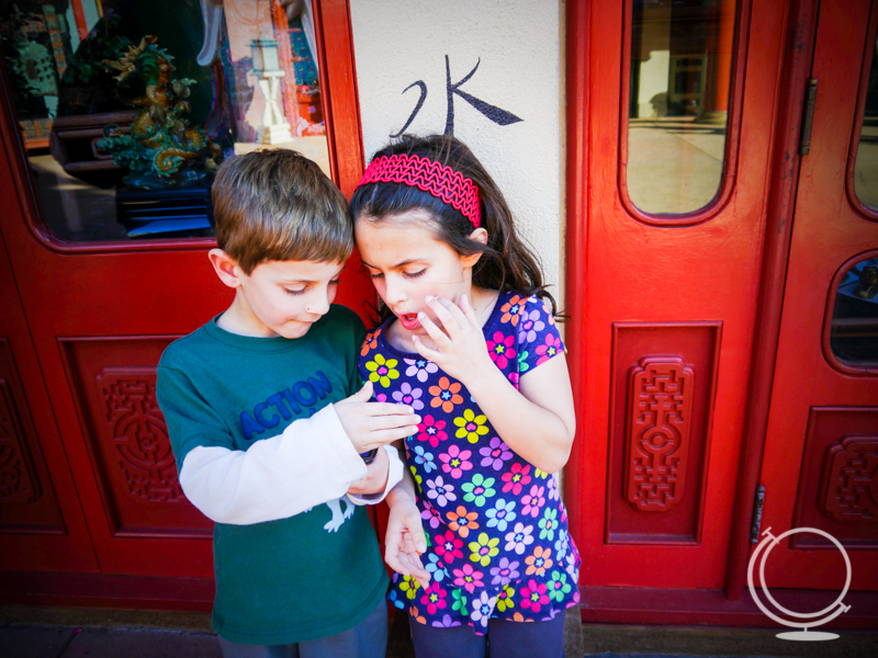 Kids at Disney With Phone