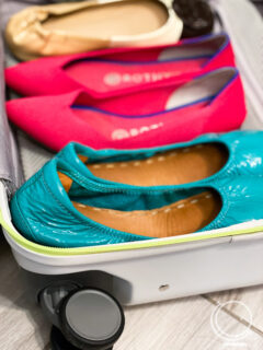 Ballet flats in a carry-on suitcase